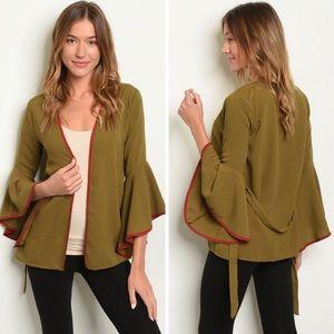 🆕 Olive Kimono Sleeve Open Cardigan